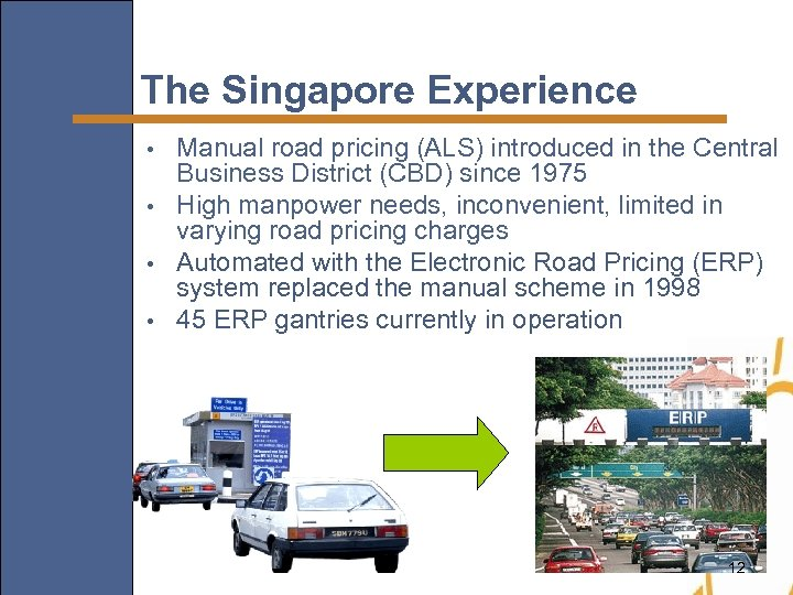 The Singapore Experience Manual road pricing (ALS) introduced in the Central Business District (CBD)