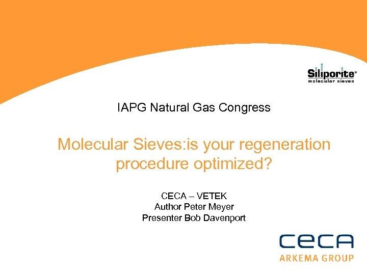 IAPG Natural Gas Congress Molecular Sieves: is your regeneration procedure optimized? CECA – VETEK
