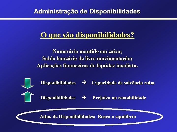 Administração de Disponibilidades O que são disponibilidades? Numerário mantido em caixa; Saldo bancário de