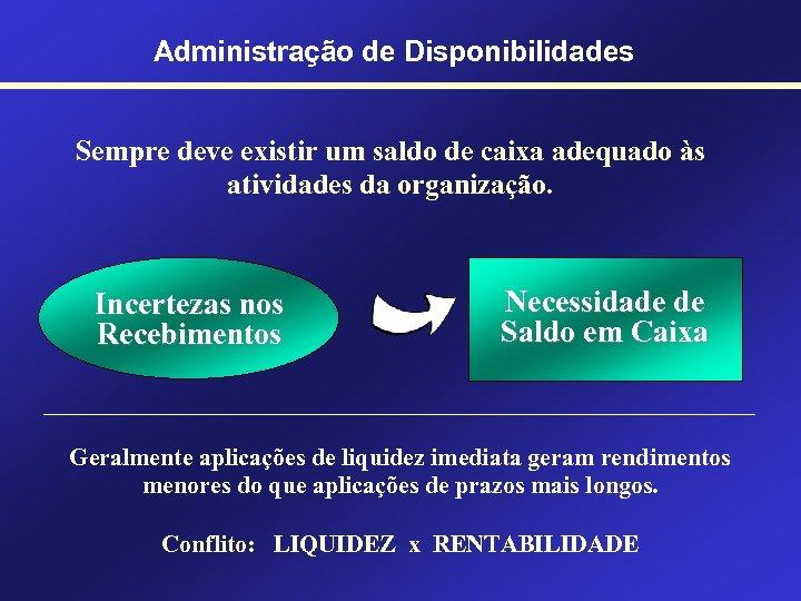 Administração de Disponibilidades Sempre deve existir um saldo de caixa adequado às atividades da