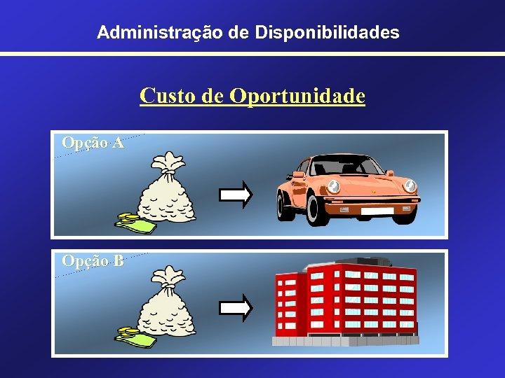 Administração de Disponibilidades Custo de Oportunidade Opção A Opção B