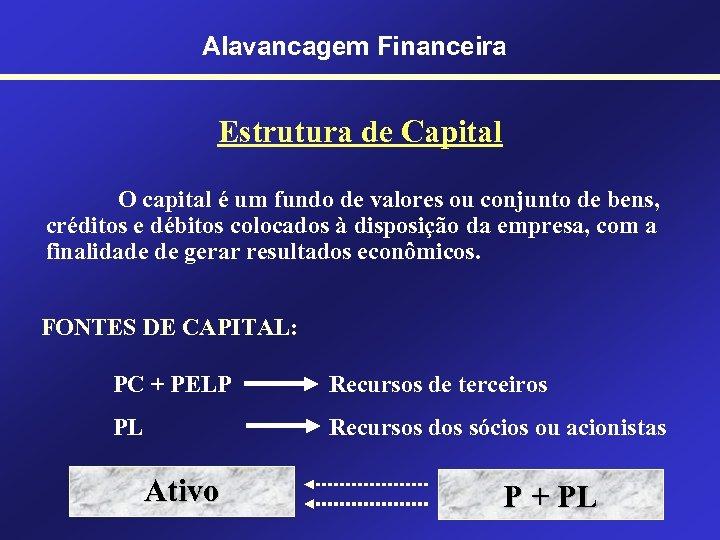 Alavancagem Financeira Estrutura de Capital O capital é um fundo de valores ou conjunto