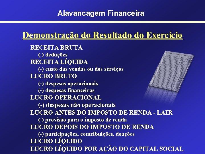 Alavancagem Financeira Demonstração do Resultado do Exercício RECEITA BRUTA (-) deduções RECEITA LÍQUIDA (-)