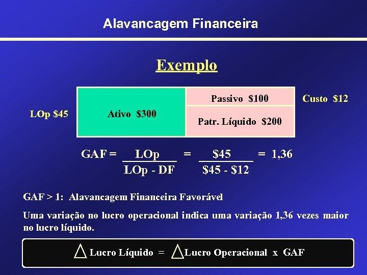 Alavancagem Financeira Exemplo Passivo $100 LOp $45 Ativo $300 GAF = Custo $12 Patr.