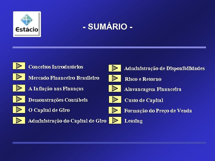 - SUMÁRIO - Conceitos Introdutórios Administração de Disponibilidades Mercado Financeiro Brasileiro Risco e Retorno