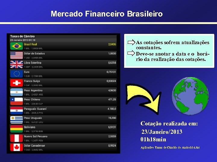 Mercado Financeiro Brasileiro As cotações sofrem atualizações constantes. Deve-se anotar a data e o