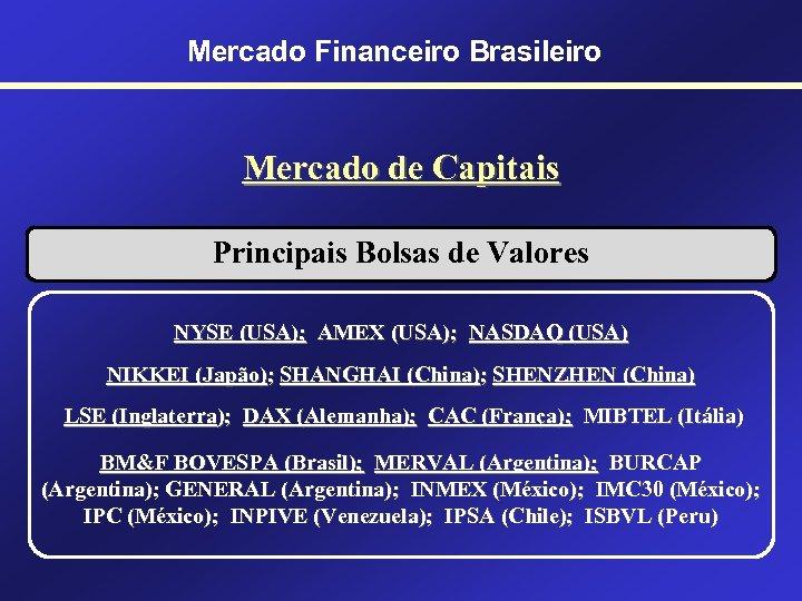 Mercado Financeiro Brasileiro Mercado de Capitais Principais Bolsas de Valores NYSE (USA); AMEX (USA);