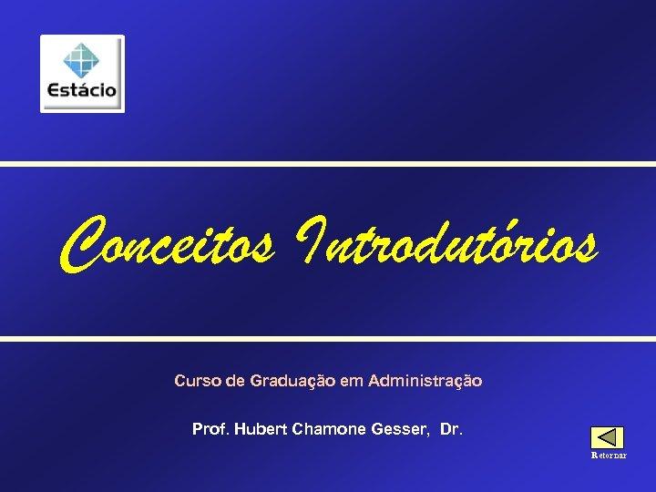 Conceitos Introdutórios Curso de Graduação em Administração Prof. Hubert Chamone Gesser, Dr. Retornar