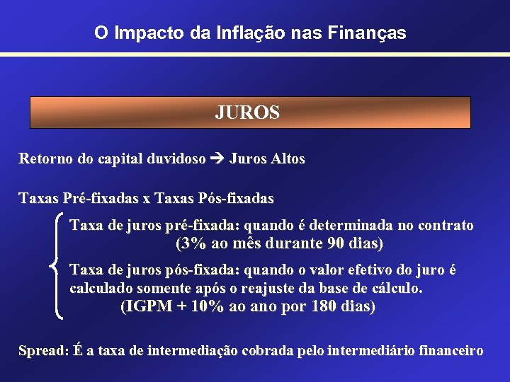 O Impacto da Inflação nas Finanças JUROS Retorno do capital duvidoso Juros Altos Taxas