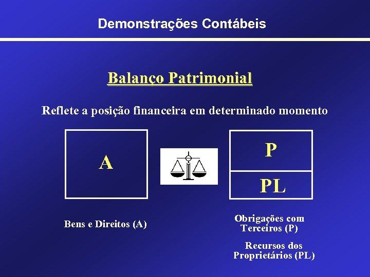Demonstrações Contábeis Balanço Patrimonial Reflete a posição financeira em determinado momento A P PL