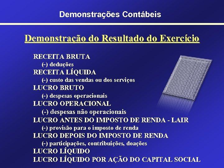Demonstrações Contábeis Demonstração do Resultado do Exercício RECEITA BRUTA (-) deduções RECEITA LÍQUIDA (-)