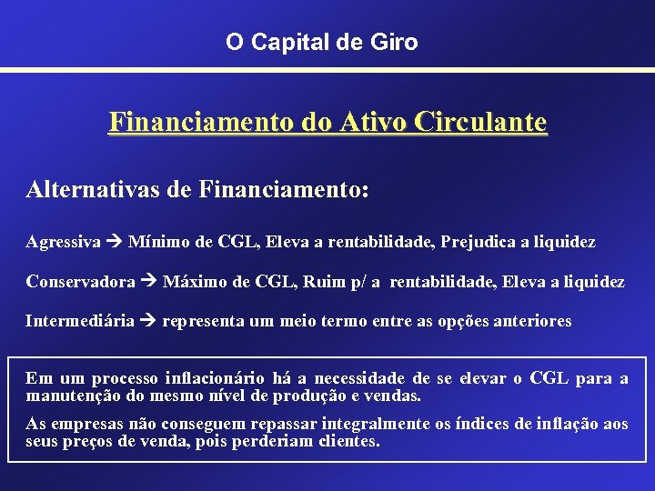 O Capital de Giro Financiamento do Ativo Circulante Alternativas de Financiamento: Agressiva Mínimo de