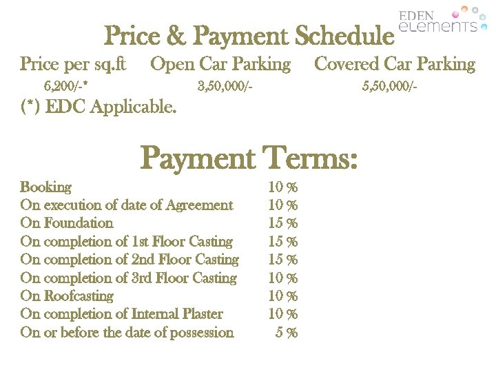 Price & Payment Schedule Price per sq. ft Open Car Parking 6, 200/-* Covered