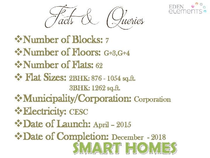 v. Number of Blocks: 7 v. Number of Floors: G+3, G+4 v. Number of