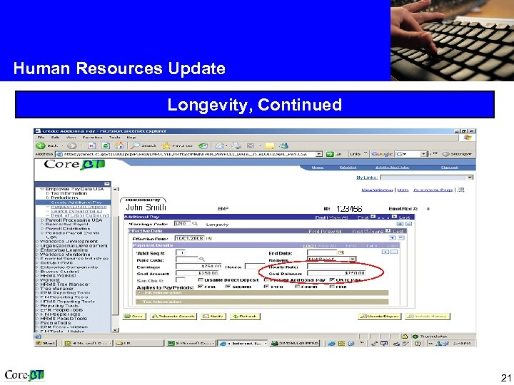 Human Resources Update Longevity, Continued 21