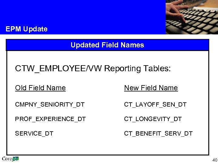 EPM Updated Field Names CTW_EMPLOYEE/VW Reporting Tables: Old Field Name New Field Name CMPNY_SENIORITY_DT