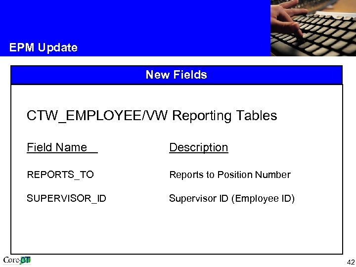 EPM Update New Fields CTW_EMPLOYEE/VW Reporting Tables Field Name Description REPORTS_TO Reports to Position