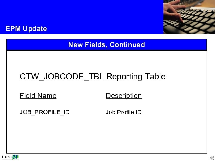 EPM Update New Fields, Continued CTW_JOBCODE_TBL Reporting Table Field Name Description JOB_PROFILE_ID Job Profile