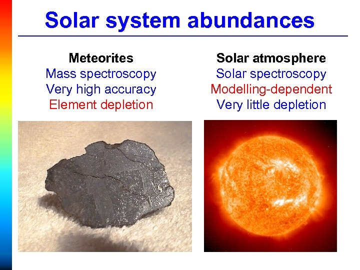 Solar system abundances Meteorites Mass spectroscopy Very high accuracy Element depletion Solar atmosphere Solar