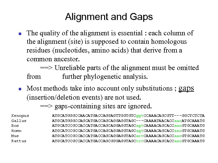Alignment and Gaps The quality of the alignment is essential : each column of