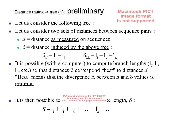 Distance matrix -> tree (1): preliminary Let us consider the following tree : Let