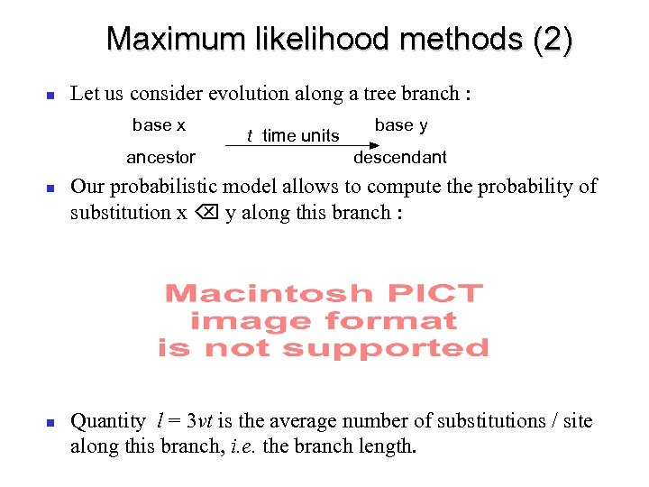 Maximum likelihood methods (2) Let us consider evolution along a tree branch : base