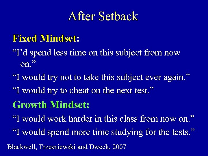 "After Setback Fixed Mindset: ""I'd spend less time on this subject from now on."