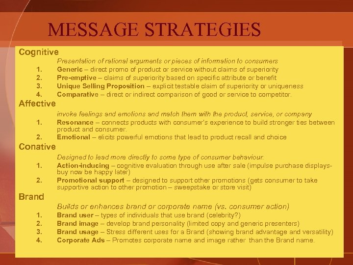 MESSAGE STRATEGIES Cognitive 1. 2. 3. 4. Presentation of rational arguments or pieces of
