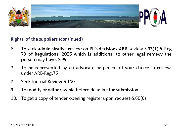 Rights of the suppliers (continued) 6. To seek administrative review on PE's decisions-ARB Review
