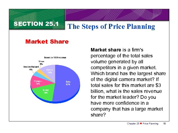 SECTION 25. 1 The Steps of Price Planning Market Share Market share is a
