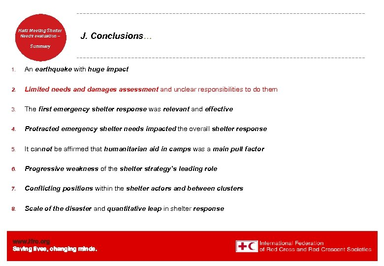 Haiti Welcome. Shelter Meeting to Needs evaluation – the IFRC J. Conclusions… Summary 1.