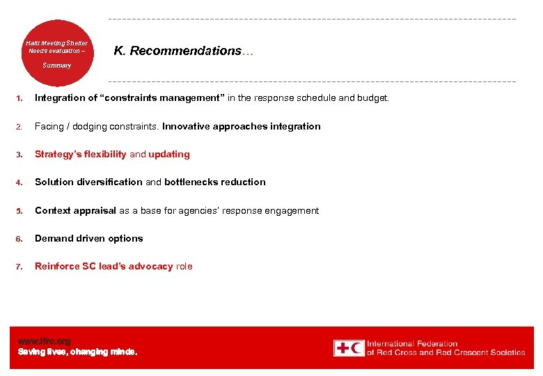 Haiti Welcome. Shelter Meeting to Needs evaluation – the IFRC K. Recommendations… Summary 1.