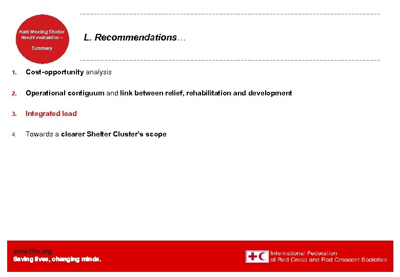 Haiti Welcome. Shelter Meeting to Needs evaluation – the IFRC L. Recommendations… Summary 1.