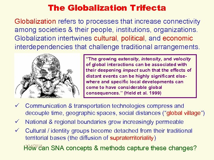 The Globalization Trifecta Globalization refers to processes that increase connectivity among societies & their