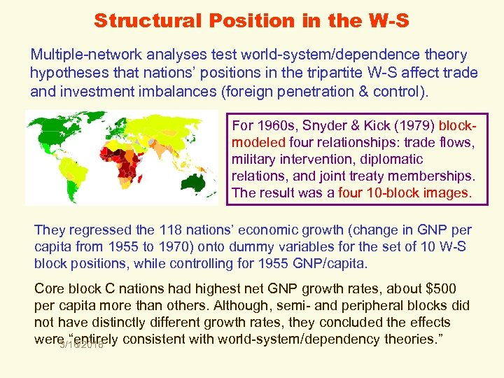 Structural Position in the W-S Multiple-network analyses test world-system/dependence theory hypotheses that nations' positions