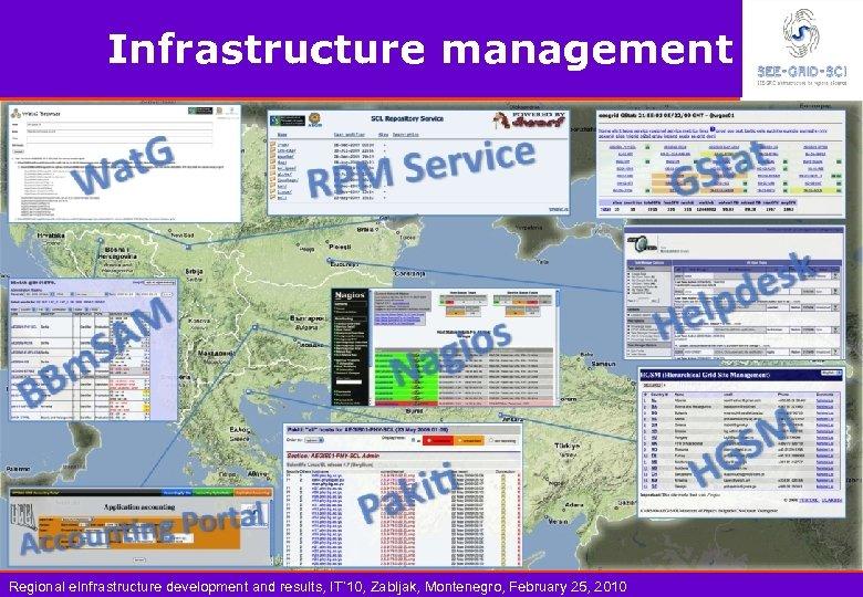 Infrastructure management Regional e. Infrastructure development and results, IT' 10, Zabljak, Montenegro, February 25,
