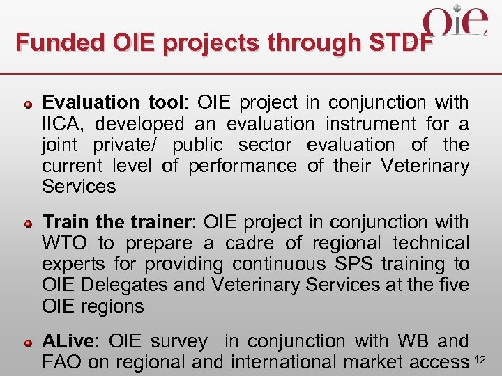 Funded OIE projects through STDF Evaluation tool: OIE project in conjunction with IICA, developed