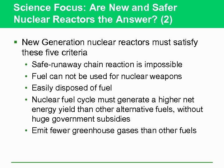 Science Focus: Are New and Safer Nuclear Reactors the Answer? (2) § New Generation