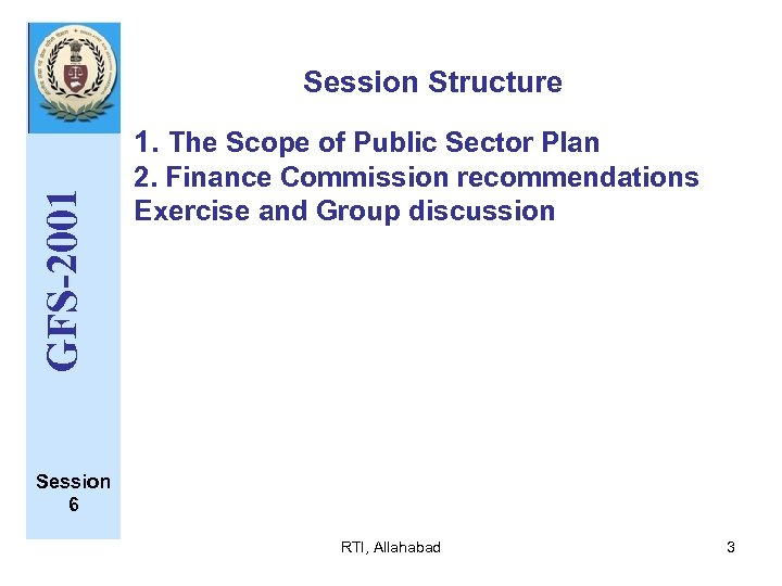Session Structure GFS-2001 1. The Scope of Public Sector Plan 2. Finance Commission recommendations