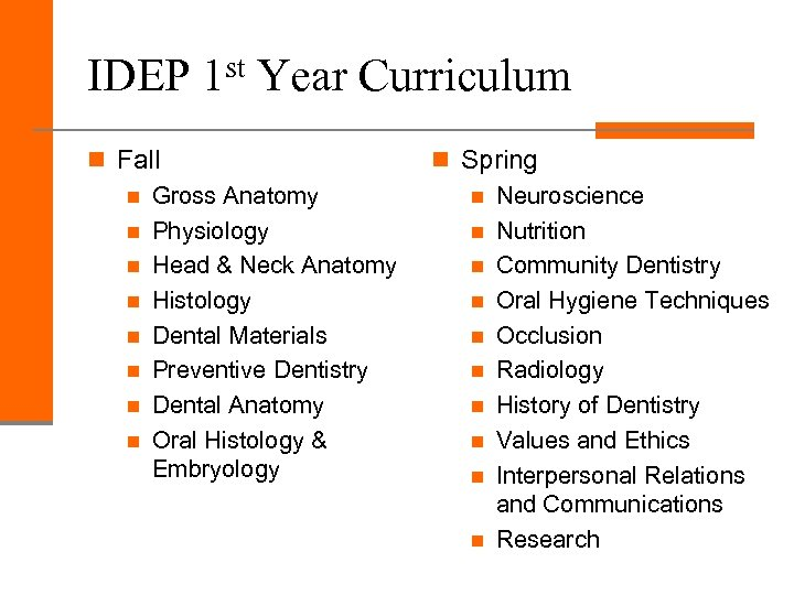 IDEP 1 st Year Curriculum n Fall n Gross Anatomy n Physiology n Head