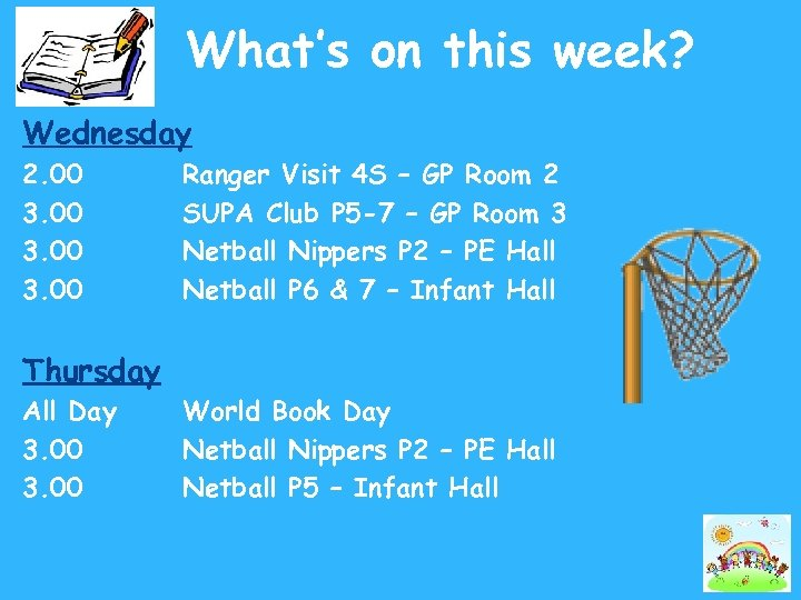 What's on this week? Wednesday 2. 00 3. 00 Ranger Visit 4 S –