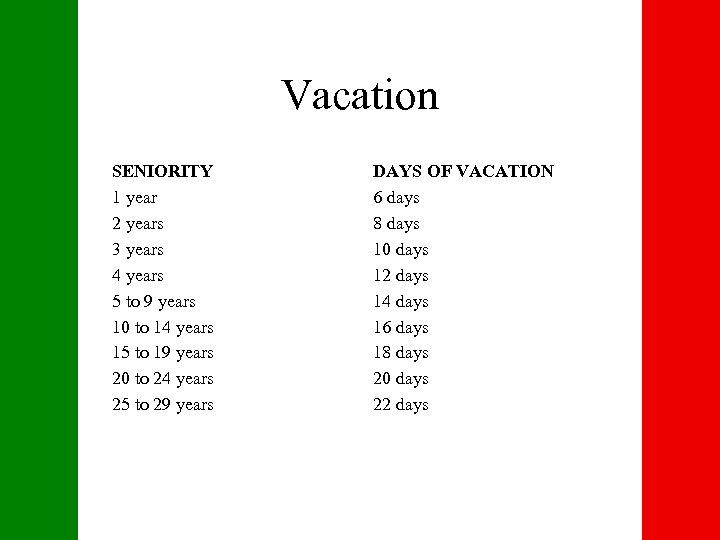 Vacation SENIORITY 1 year 2 years 3 years 4 years 5 to 9 years