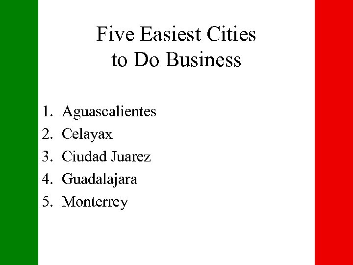 Five Easiest Cities to Do Business 1. 2. 3. 4. 5. Aguascalientes Celayax Ciudad