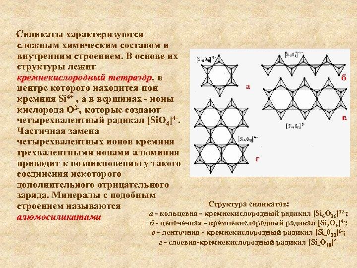 Силикаты характеризуются сложным химическим составом и внутренним строением. В основе их структуры лежит кремнекислородный