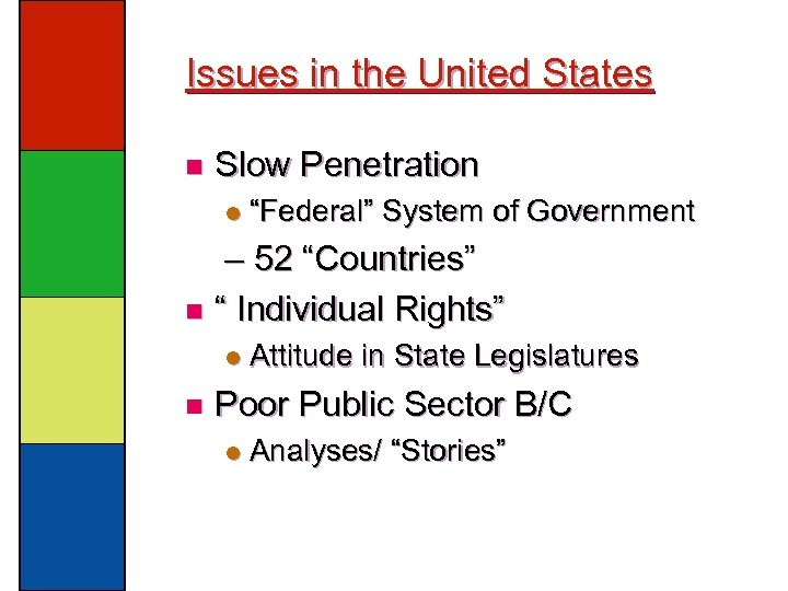 """Issues in the United States n Slow Penetration l """"Federal"""" System of Government –"""