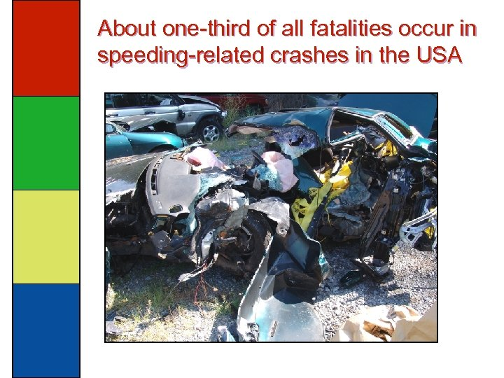 About one-third of all fatalities occur in speeding-related crashes in the USA