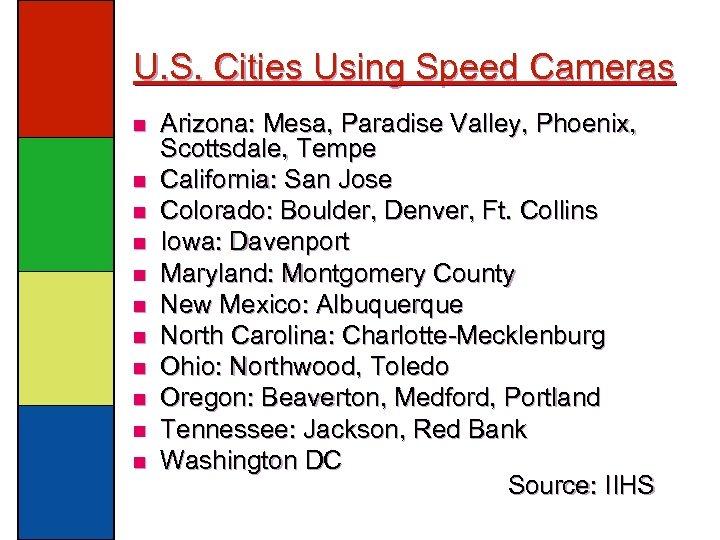 U. S. Cities Using Speed Cameras n n n Arizona: Mesa, Paradise Valley, Phoenix,