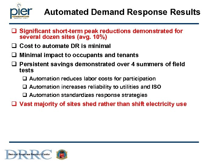 Automated Demand Response Results q Significant short-term peak reductions demonstrated for several dozen sites