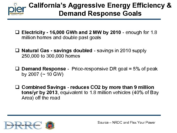 California's Aggressive Energy Efficiency & Demand Response Goals q Electricity - 16, 000 GWh