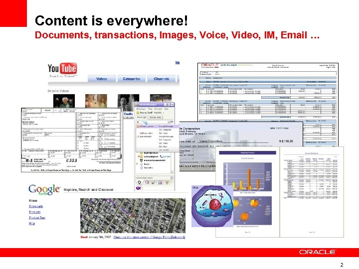 Content is everywhere! Documents, transactions, Images, Voice, Video, IM, Email … 2